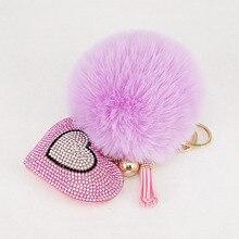 Брелок с помпоном, стразы, сердце, женские сумки, брелок ручной работы, подвески, Очаровательное украшение подвески