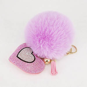 Pompom Keychain Bags Decoration Pendants Key-Ring Rhinestone Handmade Heart Accrssories