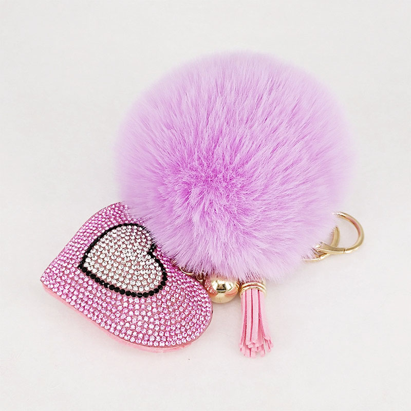 Pompom Keychain Rhinestone Heart Women's Bags Key Ring Handmade Accrssories Keychains Pendants Charming Suspension Decoration(China)