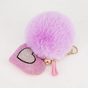 Pompom Keychain Rhinestone Heart Women's Bags Key Ring Handmade Accrssories Keychains Pendants Charming Suspension Decoration
