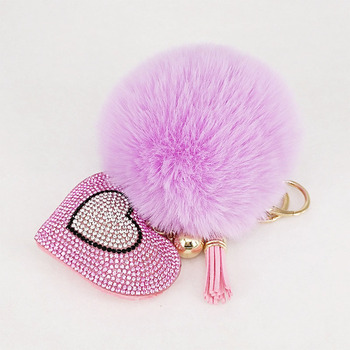 Pompom Keychain Rhinestone Heart Women's Bags Key Ring Handmade Accrssories Keychains Pendants Charming Suspension Decoration - discount item  40% OFF Fashion Jewelry