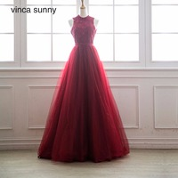 Vinca Sunny Long Burgundy Prom Dresses For Women Spring Summer Lace Tulle Christmas Party Gowns Plus