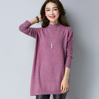 Autumn Winter New Style Solid Color All Matched Medium Style Mock Long Sleeve Knitwear Women Pullover