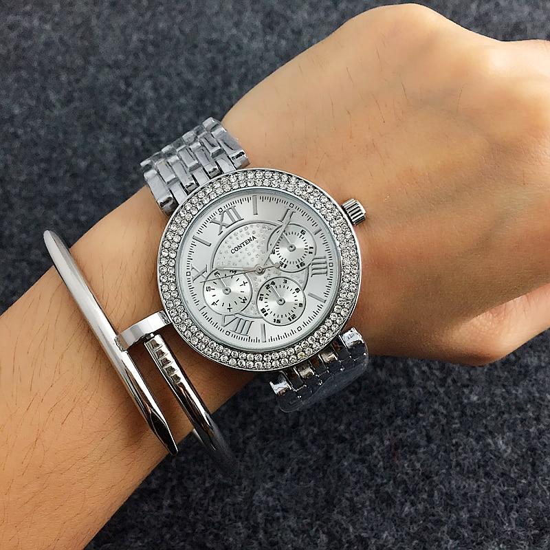 411be9d7687 Relogio feminino CONTENA Luxus Strass frauen Uhren Frauen Uhren Mode Golduhr  Voller Stahl Damen Uhr saat
