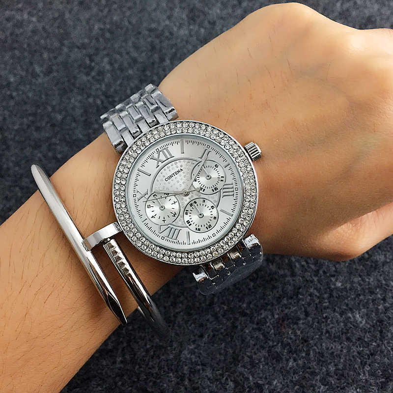 relogio feminino CONTENA Luxury Rhinestone Women's Watches Women Watches Fashion Gold Watch Full Steel Ladies Watch Clock saat