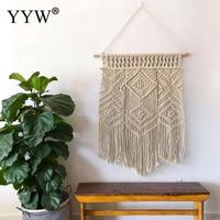2pc Boho Macrame Wall Hanging Curtain Scandinavian Wall Tapestry Fabrics Wedding Living Room Decor Home Decoration Accessories