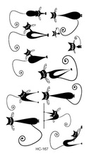 HC1167 Waterproof Fake Tattoo Stickers Black Fast Tattoo Little Cats Water Transfer Temporary Flash Fake Tattoos Sticker