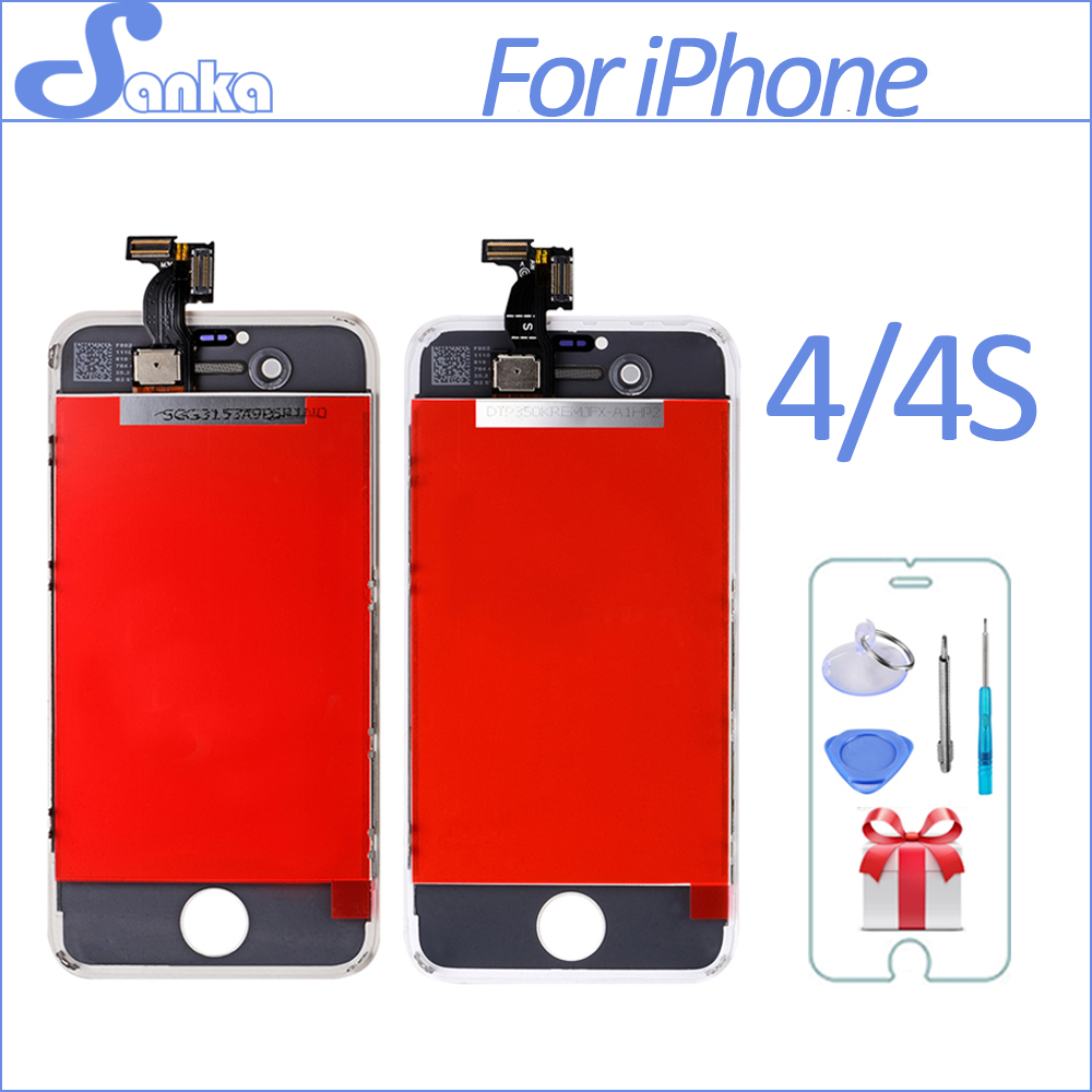 SANKA For iPhone 4 4G 4S A1332 LCD Display Digitizer Touch Screen Assembly A1332 Ecran Screen Replacement Mobile Phone Parts