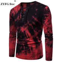 ZYFG free men t shirts letters printing long sleeved V-neck Tops simple style elastic drawstring Tee shirt
