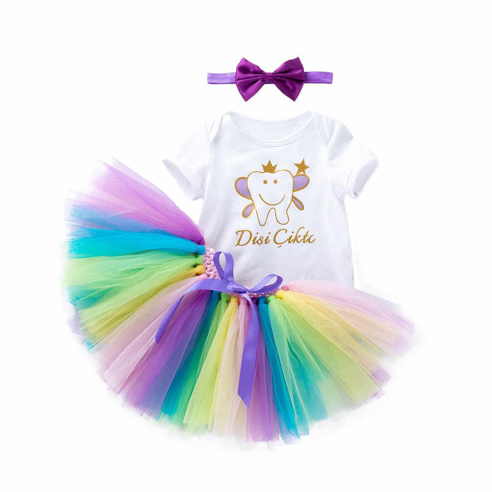 Conjunto de vestidos de tutú arcoíris con letras para bebés recién nacidos y niñas