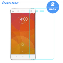 2PCS Tempered Glass Film for Xiaomi Mi 4 Mi 4S Screen Protector Film Anti-scratch Shatterproof With Clean Tool Easy to Install