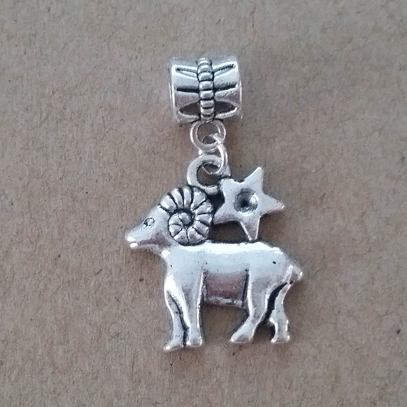 Free Shipping 1PC Silver Plated Aries European Bead Charm Diy Jewelry For Pandora Charm Bracelet Chain Wholesale