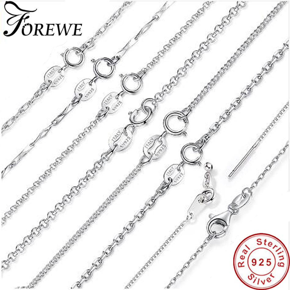 5b2b6e9ecab2 FOREWE auténtico 925 Plata de Ley 100% cadenas de eslabones ajustables  collares para Mujeres Hombres lujo S925 joyería regalo de San Valentín