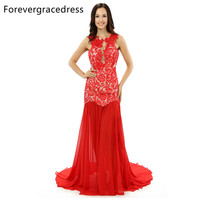 Forevergracedress Real Photo Gorgeous Chiffon Evening Dress 2017 Red Long Split Sleeveless Lace Formal Party Dress
