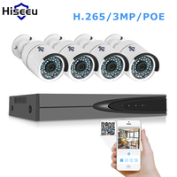 H 265 CCTV System POE NVR Kits 4ch 3MP H 265 Waterproof IP Camera Metal Waterproof