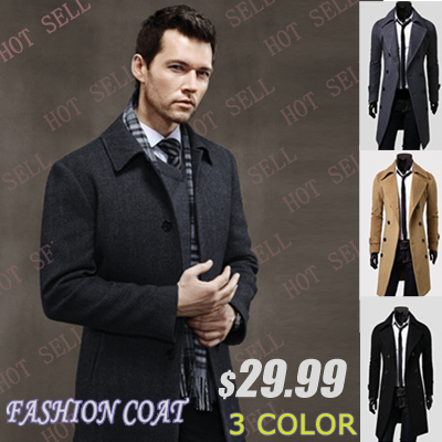 2016 Winter casual Breasted men s Overcoat Free shipping Wholesale unique slim outerwear long design double