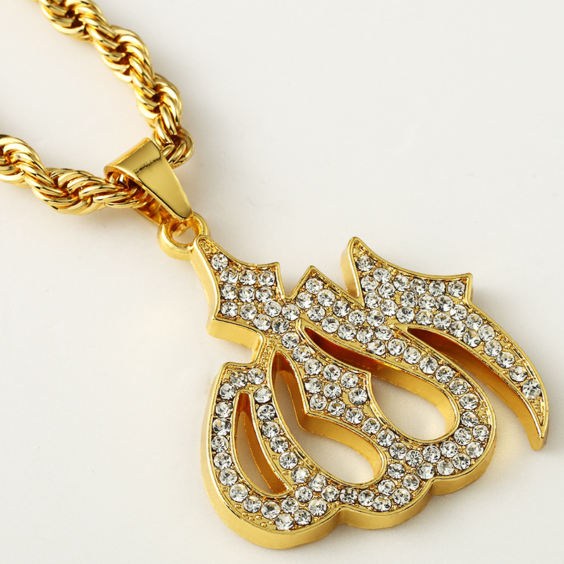 Iced Out Islam Muslim Allah Pendant Gold Color Cuban Rope