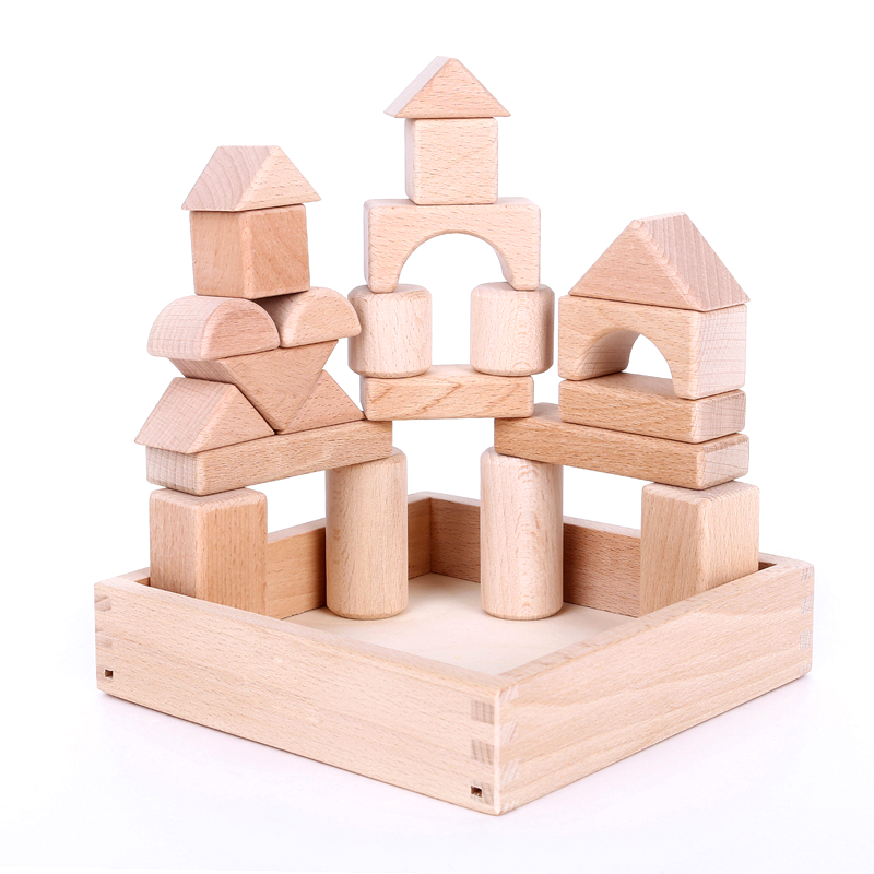 ФОТО Montessori Toy 22 Pcs Beech Wood Geometry Blocks Learning&Education High Quality Wooden Toys brinquedos educativos