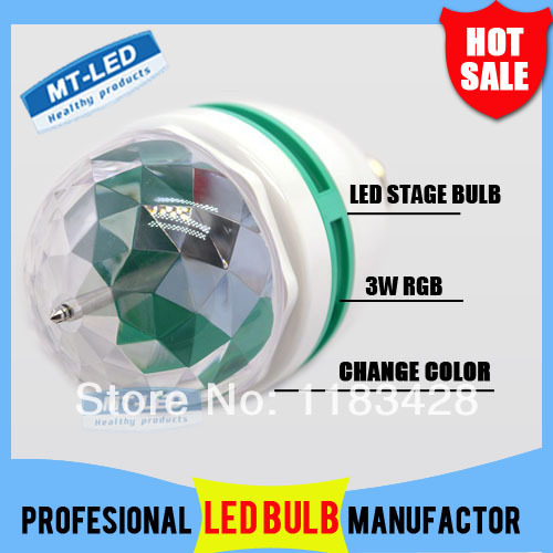 X50 DHL Free shipping 3W E27 RGB lighting <font><b>Full</b></font> <font><b>Color</b></font> <font><b>LED</b></font> <font><b>Crystal</b></font> <font><b>Stage</b></font> <font><b>Light</b></font> Auto Rotating Effect DJ lamp mini <font><b>Stage</b></font> <font><b>Light</b></font> Bulb