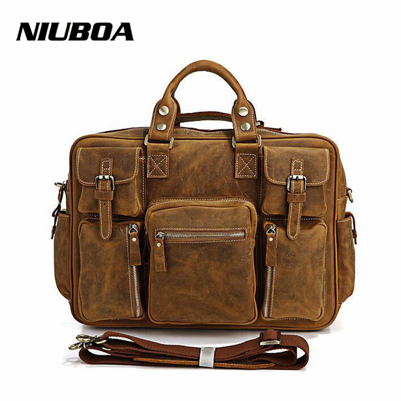 NIUBOA 100% Cow Genuine Leather Messenger Bags Top Quality Men Travel Business Crossbody Shoulder Bag Pocket Sacoche Homme Bolsa top quality 100