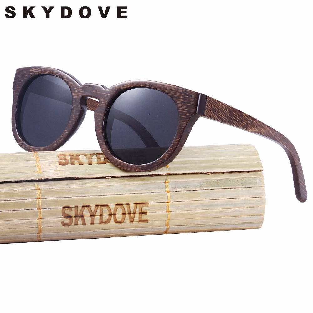 SKYDOVE Oval Bamboo Sunglasses Wooden Sunglasses Brown UV400 Wood Sunglasses Women Polarized Outdoor Wood Sunglasses Round
