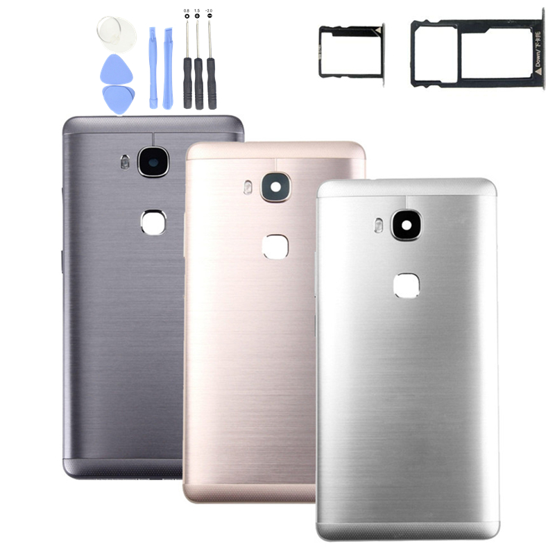 for Huawei Honor 5X Battery Back Cover Rear Housing Metal Door for Huawei Honor X5/ GR5 Card Tray Holder Repair Spare Parts