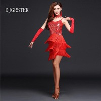 DJGRSTER New Arrival Women Latin Dance Dress Performance Clothing Sexy Unequal Tassel Skirt Tango Ballroom Salsa