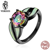 VOROCO Popular Genuine 100 Authentic 925 Sterling Silver Glass Opal Gemstone Finger Ring For Women Fine