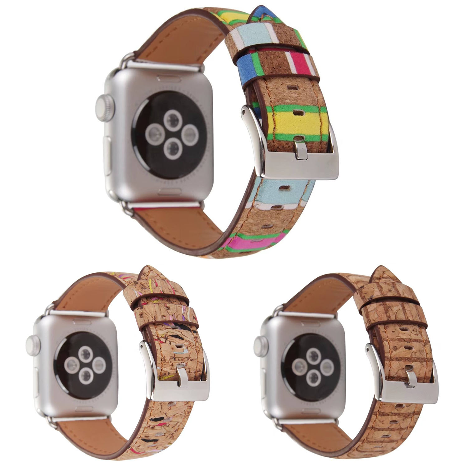 все цены на Colorful Rainbow Stripe Wood Pattern Leather Band for Apple Watch Series 3 2 1 Wrisbands Strap For iWatch Bracelet Belt 38/42mm