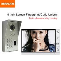 LUXURY Aluminium Alloy Waterproof Dustproof IR Night Vision 9 LCD Screen Fingerprint/Code Unlock Video Door Phone Intercom Kit