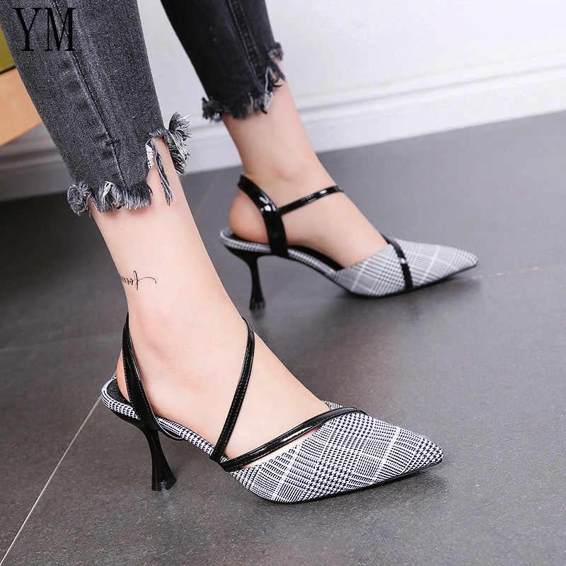 YM Büyük Boy 35-39 Stiletto Topuklu Kadın Pompaları Ekose Sivri Burun OL Sığ Ince Topuklu Ayakkabı 2019 Bahar parti Bayan Ayakkabıları