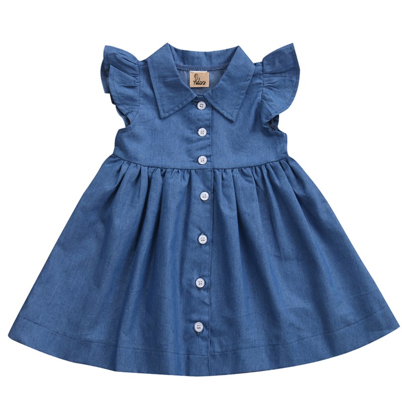 1-6Y Toddler Baby Girls Princess Sleeeveless Denim Jeans Summer Dress Sundress Party Wedding Beach Pageant Dresses Kids Clothes puseky vestido princesa 2 pcs set cute kids baby girls clothes minions minnie party dress vest skirt toddler clothes 1 6y