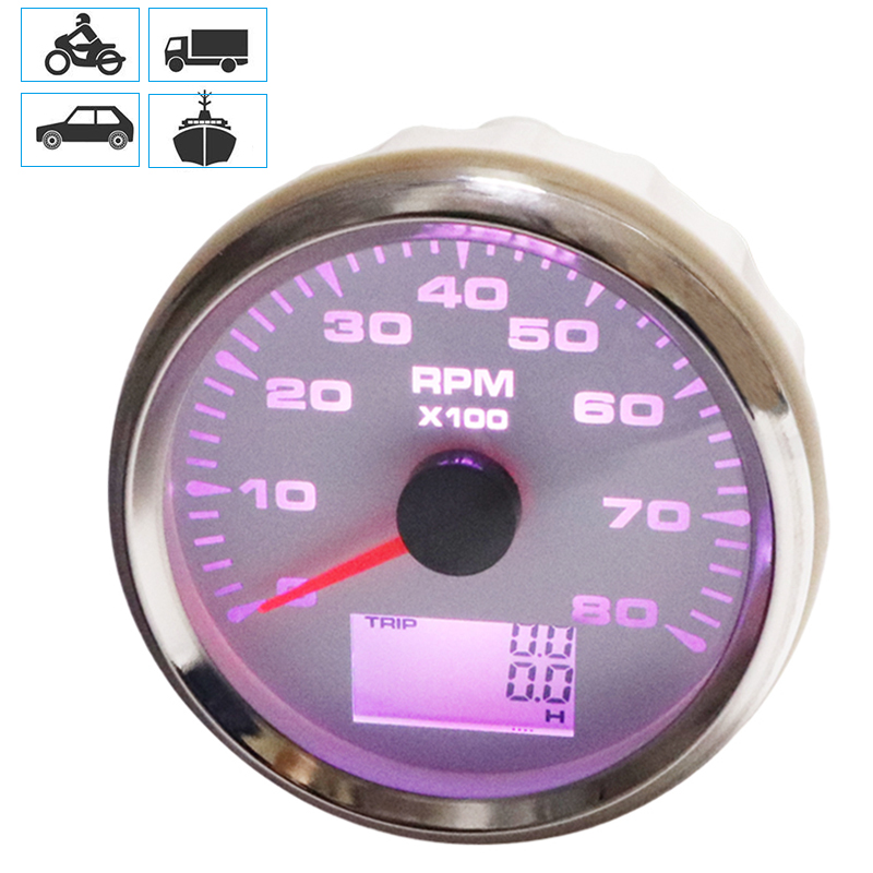 1PCS New 0 8000RPM Tachometer Car RPM Gauges 85mm LCD Revolution Meters Rev Counters with Hourmeter