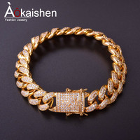 14MM Men Zircon Curb Cuban Link Bracelet Hip hop Jewelry Gold Silver Thick Heavy Copper Material Iced Out CZ Chain Bracelet 8