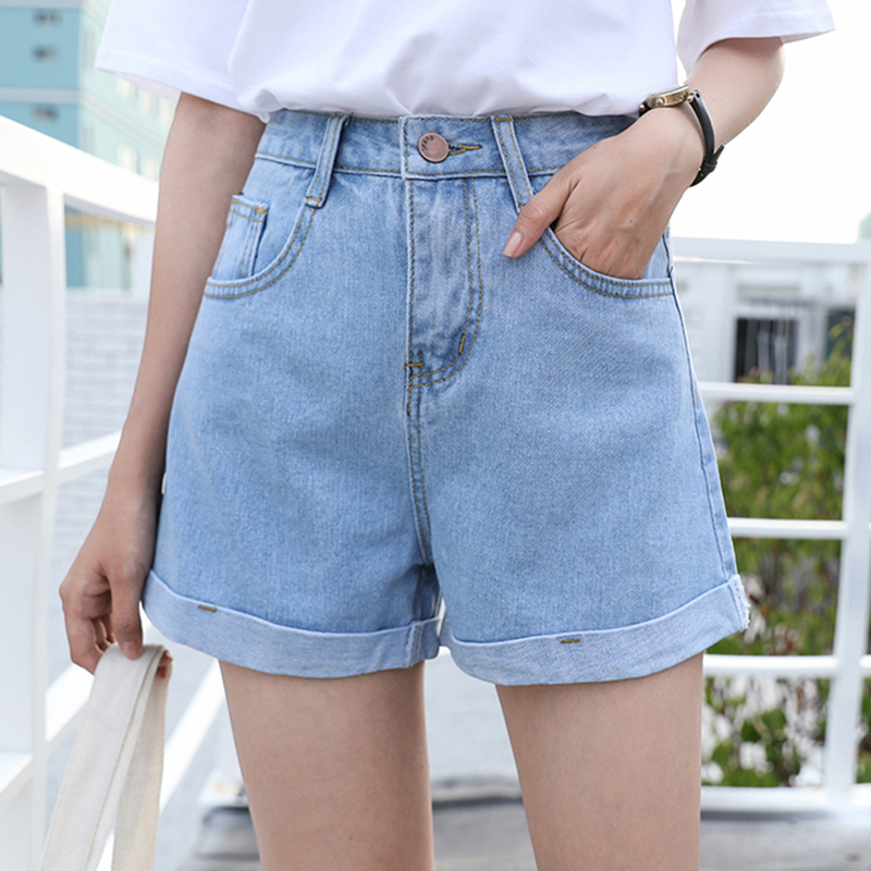Summer Korean Crimping High Waist Shorts Women Plus Size Shorts Jeans  Casual Minimalism Denim Shorts Women Loose Women's Shorts