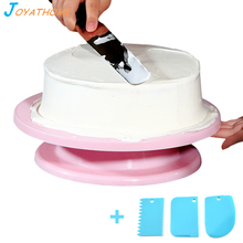 Joyathome 10 Inch Kitchen Decorating Icing Rotating Cake Turntable Stands with 3pcs/Set Cream Scrapers
