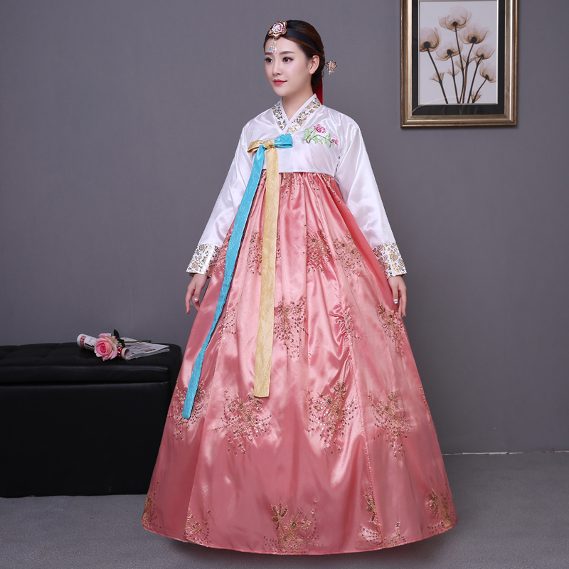 Sequined koreanske traditionelle kostume hanbok kvindelige Korea palads kostume hanbok dress national dance tøj til scenearrangement 89