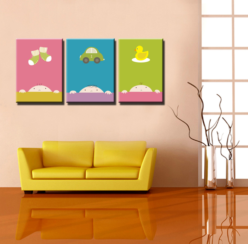 3 panel children\'s room cartoon cuadros prints Abstract canvas wall ...