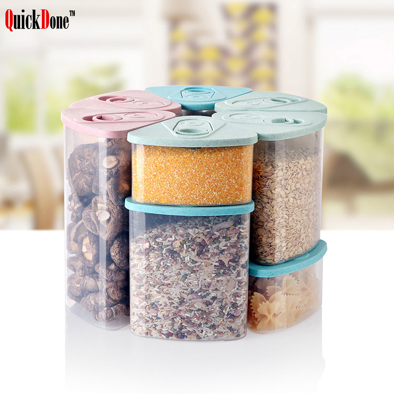 QuickDone Wheat Straw Storage Box Whole Grains Sealed Cans Covered Dry Cargo Container Tank Convenient Kitchen Tools AKC6051