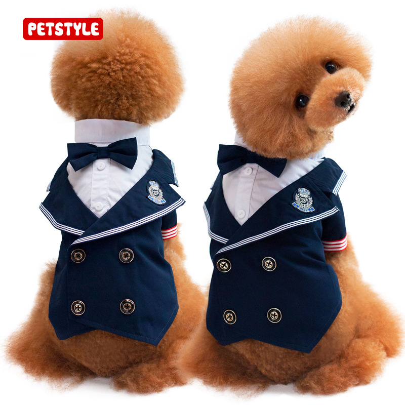 2017 New Pet Cat And Dog Clothes Fashion Strip Bowknot Suit Clothing Navy Suit Pet Dog Dress Pet Wedding Pet Supplies S-XXL
