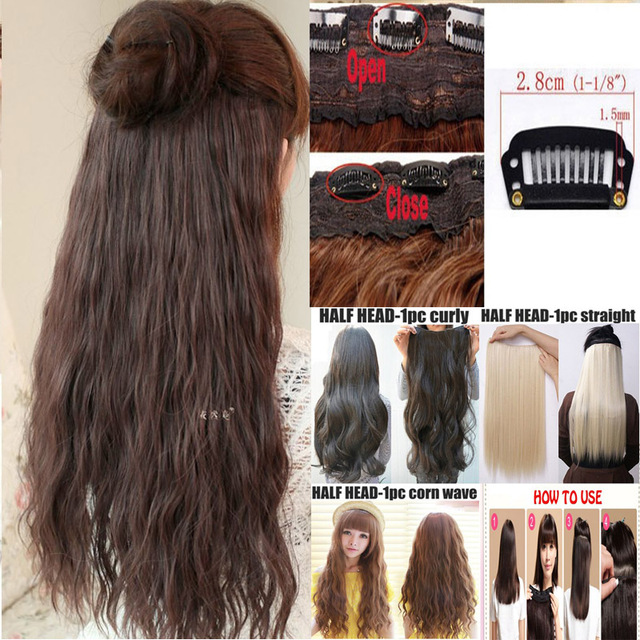Aliexpress buy new corn wave clip in hair extensions one new corn wave clip in hair extensions one piece 22inch 55cm long hairpiece heat resistant synthetic pmusecretfo Choice Image
