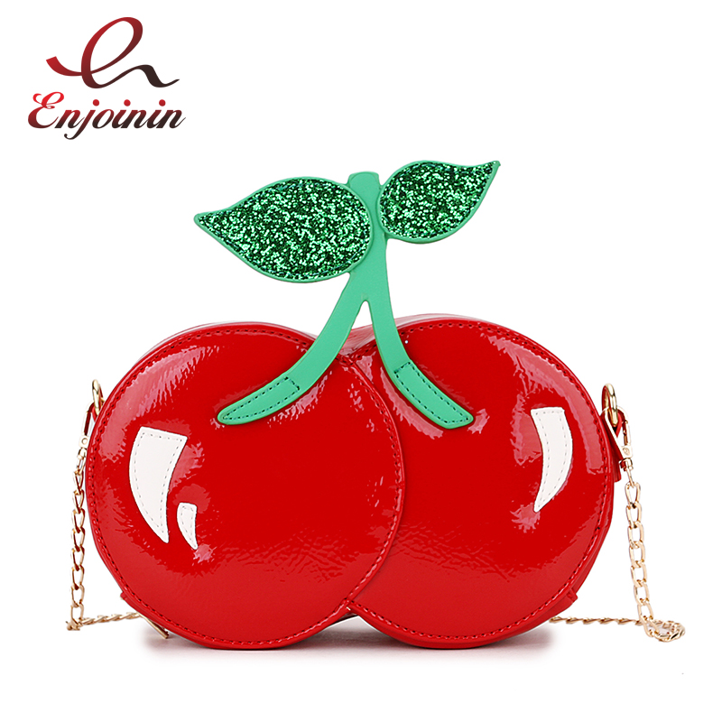Fashion Cute Sequins Red Cherry Design Pu Leather Casual Chain Shoulder Bag Girl's Clutch Bag Handbag Mini Messenger Bag Flap цена
