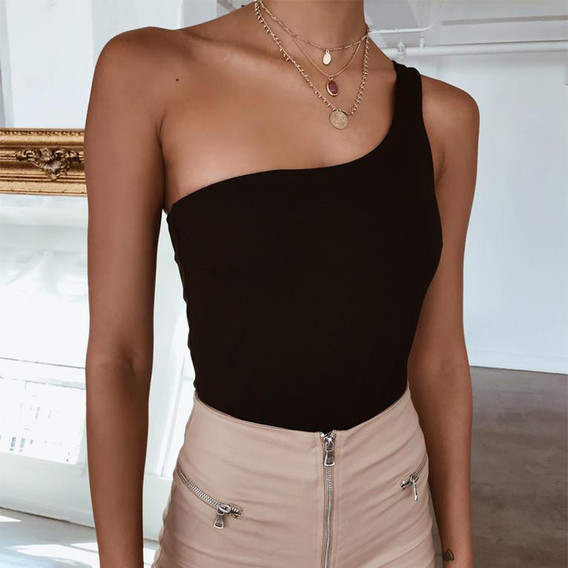 Nadafair White Black Bodysuit Sexy Sleeveless One Piece Bodysuits   Romper   Women 2019 Neon Summer One Shoulder Top Body Female