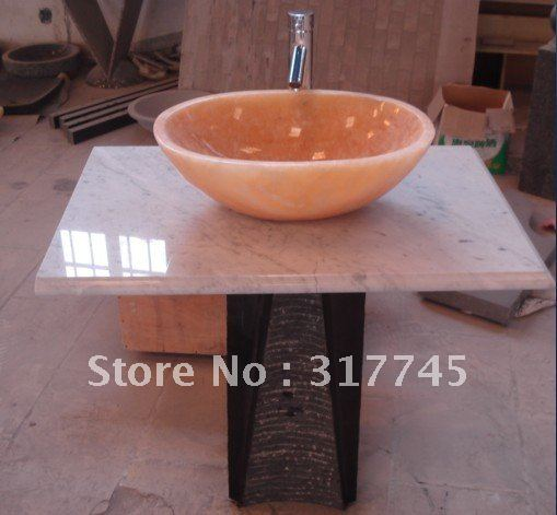 Natural Stone Pedestal Sink For Art Your Bathroom Also Can Put It In Yard