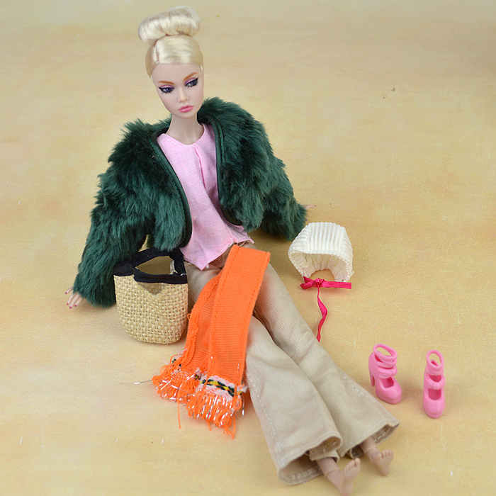 Winter Put on Inexperienced Plush Fur Coat Pink High Pants Scarf Bag Sneakers Set Swimsuit Equipment Clothes Outfit For Kurhn Barbie Doll Present