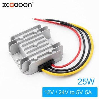 Adaptador convertidor CC XCGaoon, entrada CC 12V 24V (rango de voltaje 8V-40V) Salida 5V 5a 25W, fuente de alimentación de coche