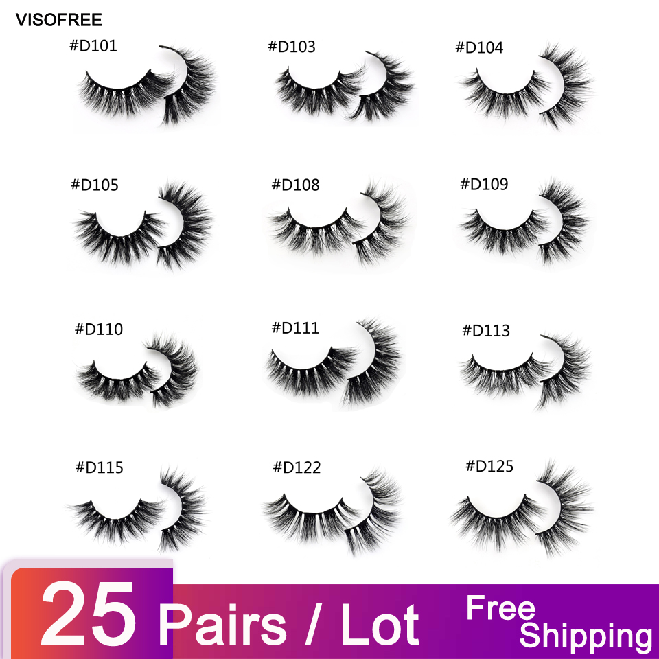 25pairs lot Visofree Mink Eyelashes 3D Mink Lashes Thick HandMade Full Strip Lashes Cruelty Free Luxury
