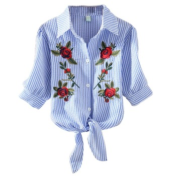 Embroidery Flower Strip  Blouse Shirt Lace Up Turn-down Collar Shirts