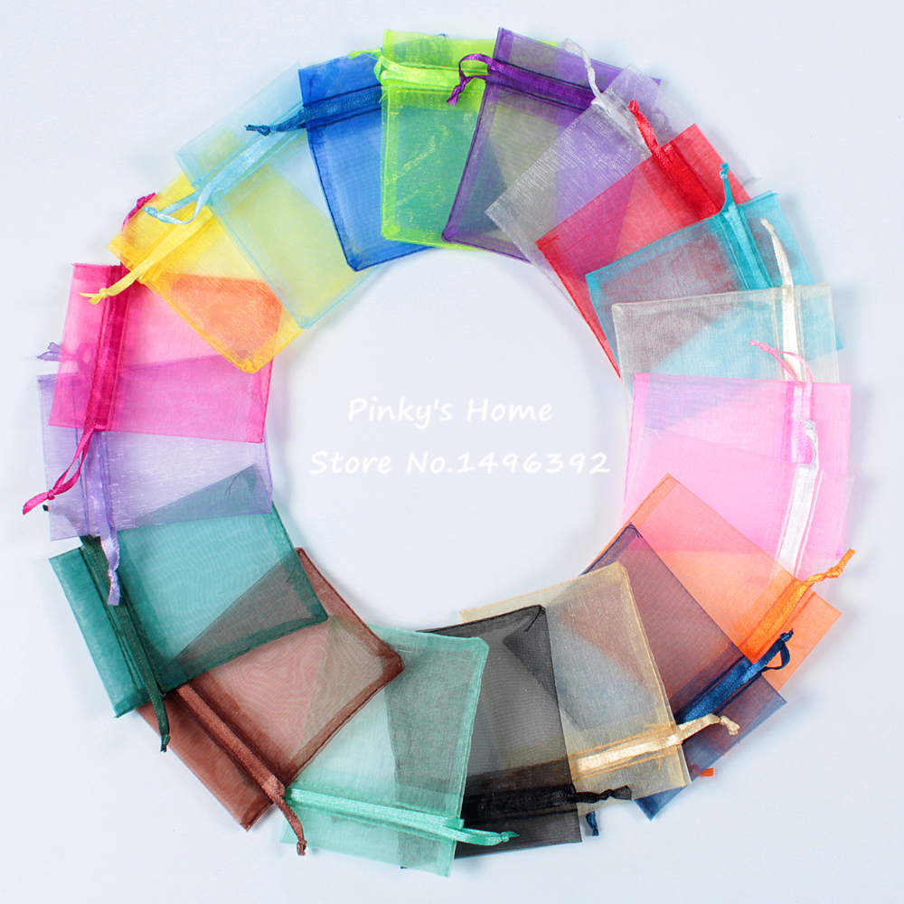 50pcs/lot 9X12cm Random Mix Colors Packing Drawable Organza Bags Stationery Holders Gift Bags Sachet Organza