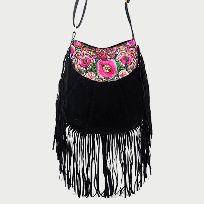 все цены на Fashion Pu+Velour Weave Long Tassel Shoulder Bag Bohemian Messenger Bag Fringe Chinese Ethnic Flower Black Embroidered Bags
